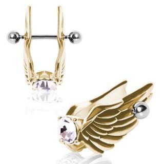 Piercing cartilage hélix doré en acier à ailes d'anges profilées avec strass