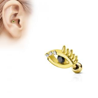 Piercing cartilage oeil à strass - Plaqué or