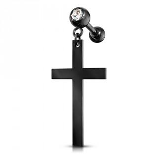 Piercing cartilage strass à pendentif croix latine - Noir