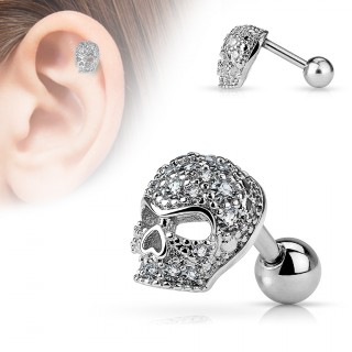 Piercing cartilage tête de mort strass