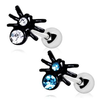 achat piercing cartilage tragus helix araign e noire sertie pas cher. Black Bedroom Furniture Sets. Home Design Ideas