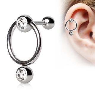 Piercing cartilage tragus hélix en acier à boules serties et anneau
