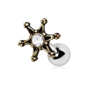 Piercing cartilage tragus hélix étoile vintage à strass