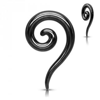Piercing écarteur spirale en acier - Noir