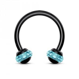 Piercing fer à cheval PVD noir à boules cerclées de cristaux - Bleu aqua