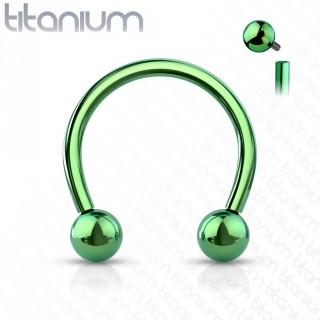 Piercing fer à cheval Titane boules à filetage interne - Vert