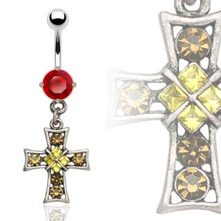 Piercing gothique nombril croix vintage sertie
