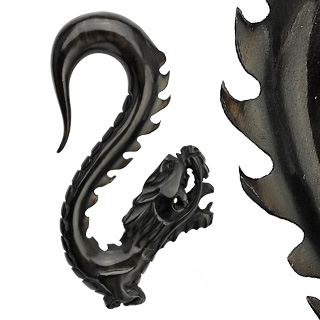 Piercing gothique taper dragon noir en corne de buffle