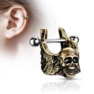 Piercing hélix à crane ange de la mort doré antique