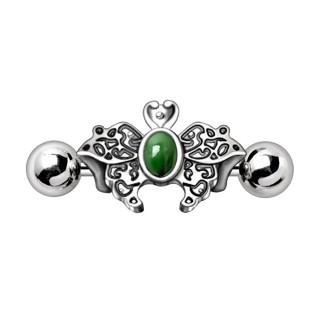 Piercing helix papillon à perle verte