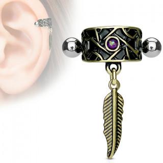 Piercing hélix tribal à plume et Opale