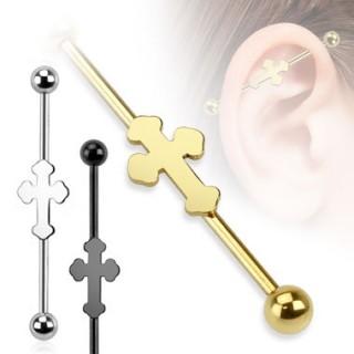 Piercing industriel avec croix médievale