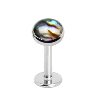 Piercing labret acier à disque Abalone (filetage interne)