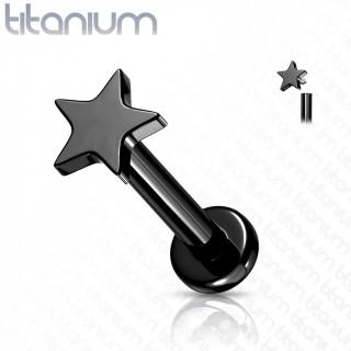 Piercing labret étoile noire en Titane à filetage interne (lèvre, cartilage...)