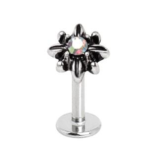 Piercing labret à fleur étoilée sertie aurore boréale
