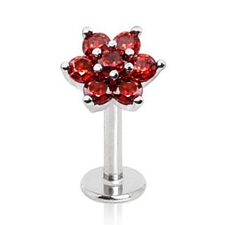 Piercing labret à fleur rouge sertie