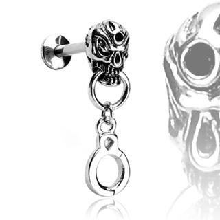 Piercing labret gothique crane anneau et menotte