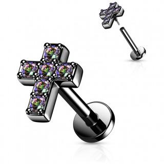Piercing labret (hélix, flat...) noir à croix pavée de strass (filetage interne)