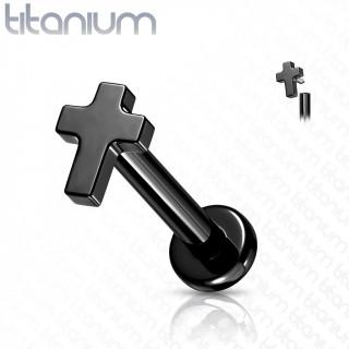 Piercing labret noir Titane Croix Latine à filetage interne (lèvre, cartilage...)