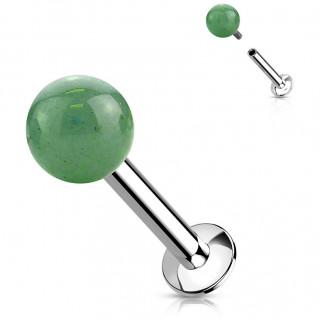 Piercing labret à perle de Jade verte (lèvre, tragus...)