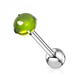 Piercing langue barbell acier à cabochon Vert