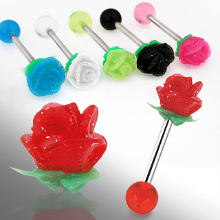 Piercing langue boule et rose