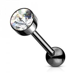 Piercing langue en acier noir à cristal plat