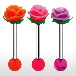 Piercing langue rose en silicone