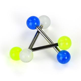Piercing langue titane G23 à boules phosphorescentes