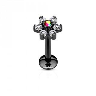 Piercing lèvre fleur noir à strass clairs et gemme aurore boréale centrale