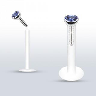 Piercing lèvre PTFE flex à gemme bleue clair