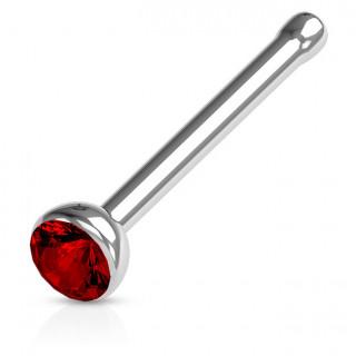Piercing nez stud droit acier à cristal serti - rouge