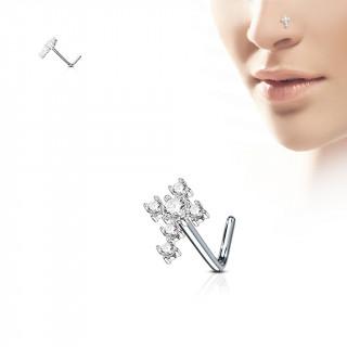 """Piercing nez tige """"L"""" à croix de strass"""