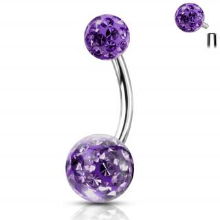 Piercing nombril acier à boules férido (filetage interne) - Violet Tanzanite