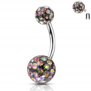 Piercing nombril acier à boules férido (filetage interne) - Vitrail Medium