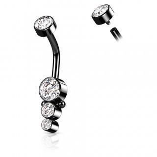 Piercing nombril acier Noir à cascade de strass perlée (filetage interne)