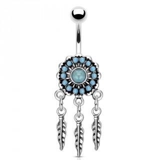 Piercing nombril attrape rêves à perles de turquoise