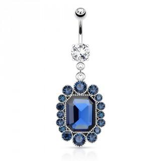 Piercing nombril avec médaillon héxagonal à pierres bleu roi