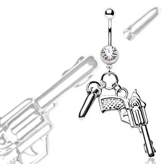 Piercing nombril balle et pistolet en pendentifs