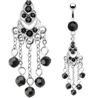 Piercing de nombril chandelier gothique