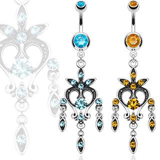 Piercing nombril chandelier vintage noirci et serti