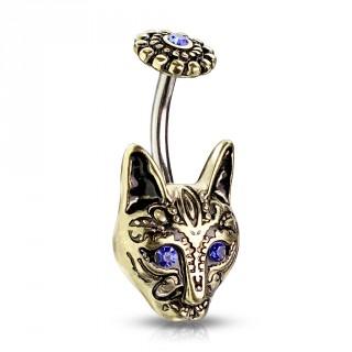 Piercing nombril chat tribal avec fleur - Doré antique