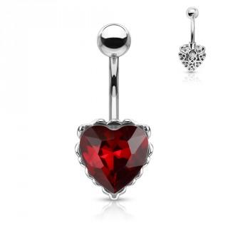 Piercing nombril à coeur cristal et filigrane arrière - Rouge