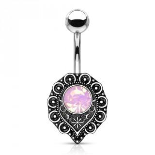 Piercing nombril coeur mystérieux à opale rose