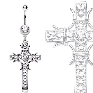 Piercing nombril croix gemmes