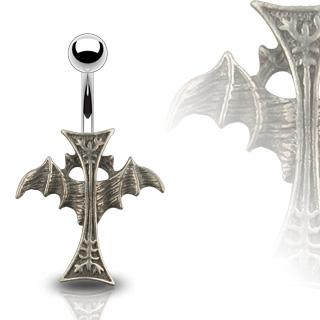 Piercing nombril croix gothique ailée