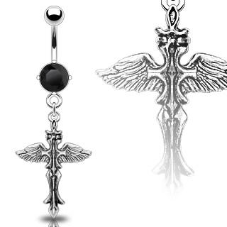 Piercing nombril croix gothique ailée et zircon noir