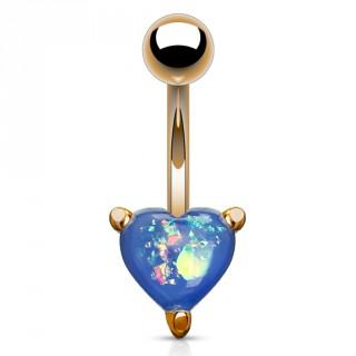 Piercing nombril cuivré à coeur d'opale bleue