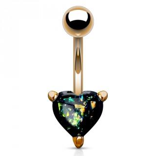 Piercing nombril cuivré à coeur d'opale vert foncé