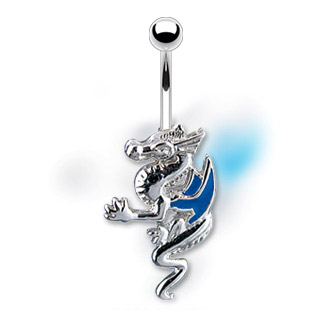 Piercing nombril dragon à ailes bleues